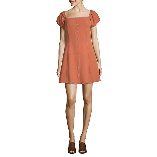 Society And Stitch-Juniors Short Sleeve Fit & Flare Dress