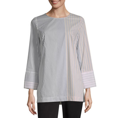 Liz Claiborne Womens Crew Neck 3/4 Sleeve Tunic Top