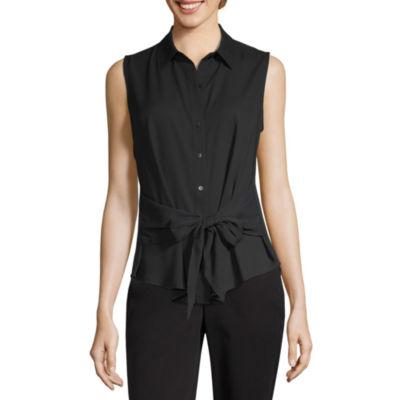 Worthington Womens Sleeveless Button-Front Shirt