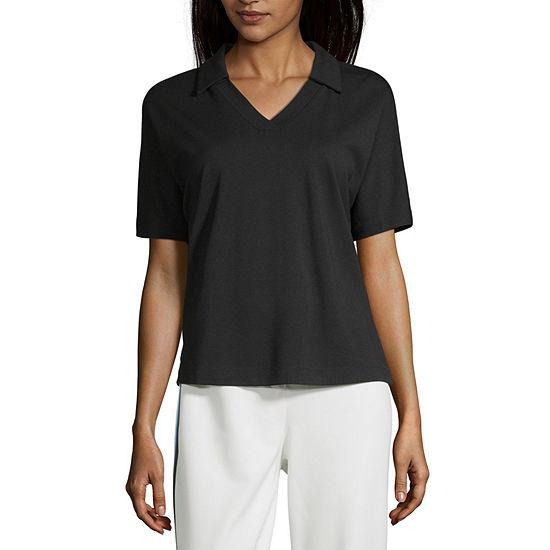 Worthington Womens Collar Neck Short Sleeve Knit Blouse