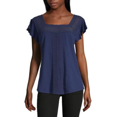 Liz Claiborne-Womens Square Neck Short Sleeve T-Shirt