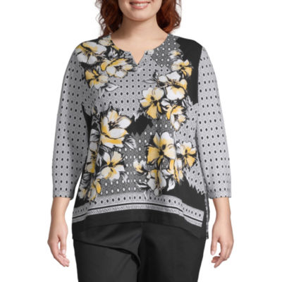 Alfred Dunner Native New Yorker 3/4 Sleeve Floral T- Shirt - Plus