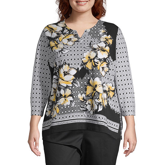 Alfred Dunner Native New Yorker 3 4 Sleeve Floral T Shirt Plus