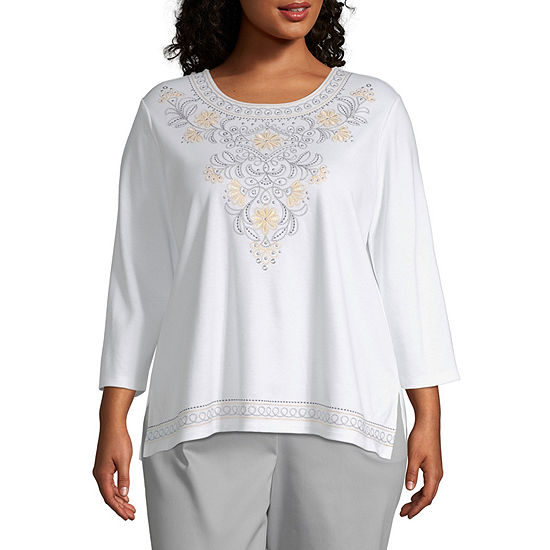 Alfred Dunner Native New Yorker Embroidered Yoke T-Shirt - Plus