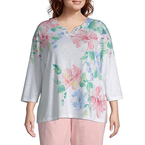 Alfred Dunner Le Jardin Flower T-Shirt - Plus