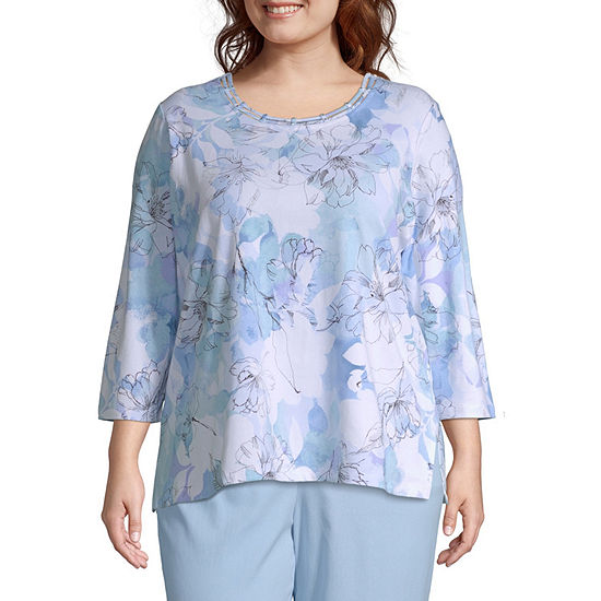Alfred Dunner Le Jardin Floral Etched Tee - Plus