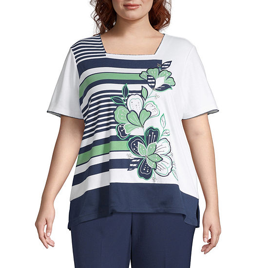 Alfred Dunner Cote D'Azur Floral Stripe Top - Plus