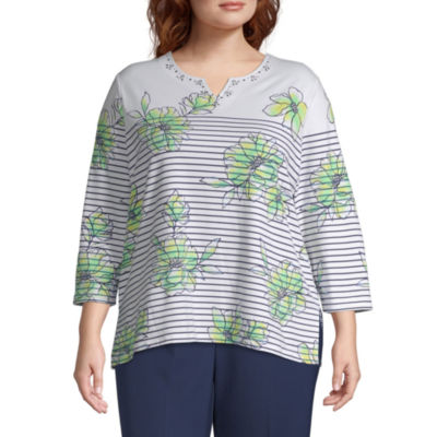 Alfred Dunner Cote D'Azur Floral Pinstripe Top - Plus