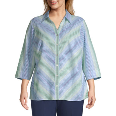 Alfred Dunner Cote D'Azur Mitered Stripe Shirt - Plus