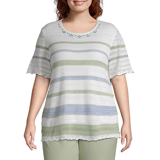 Alfred Dunner South Hampton Pointelle Stripe Sweater - Plus