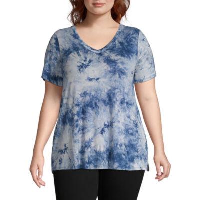 a.n.a Womens V Neck Short Sleeve T-Shirt - Plus