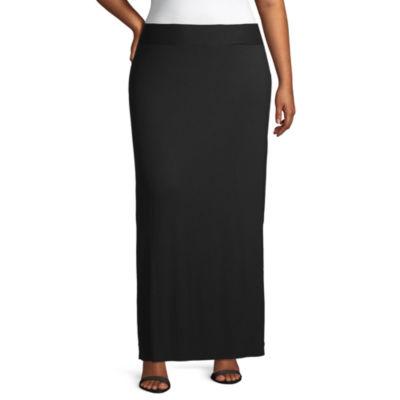 a.n.a Womens Elastic Waist Maxi Skirt - Plus