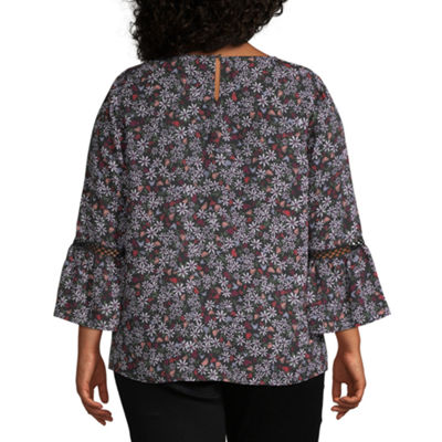 Liz Claiborne Flare Sleeve Top -  Plus