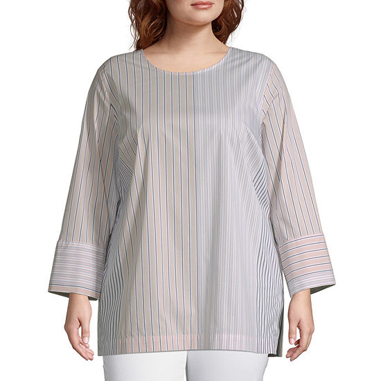 Liz Claiborne Back Button Top Plus