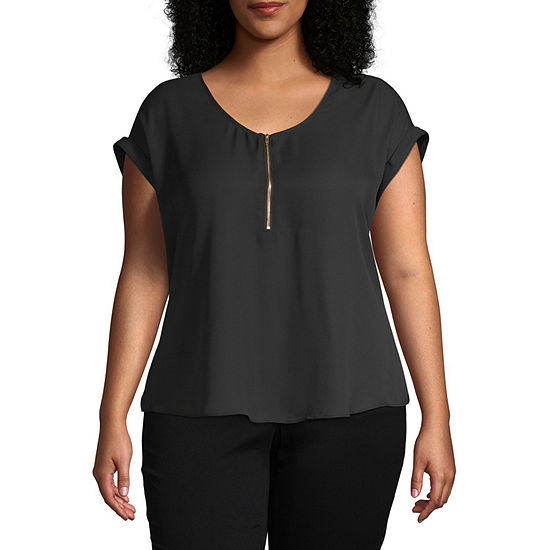 Bold Elements Womens Short Sleeve Zip Front Top - Plus