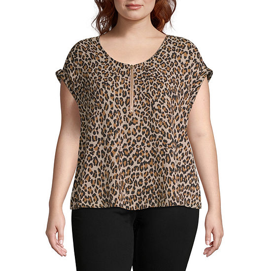 Bold Elements Womens V Neck Short Sleeve Blouse-Plus
