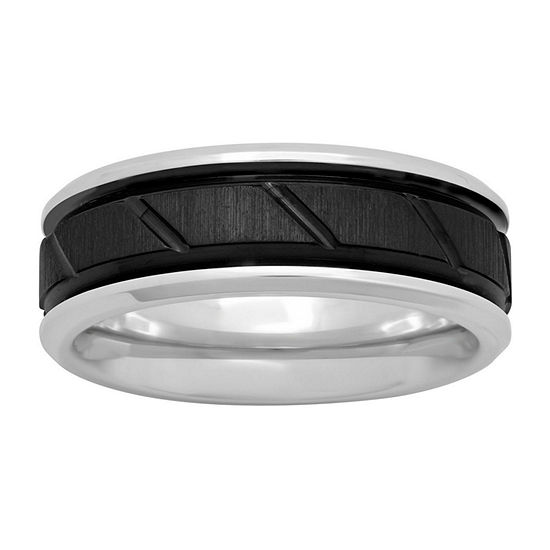 Mens Cobalt and Black IP with Slant Center 8mm Comfort Fit Wedding Band