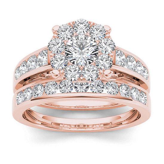 1 1/2 CT. T.W. Diamond 10K Rose Gold Bridal Set