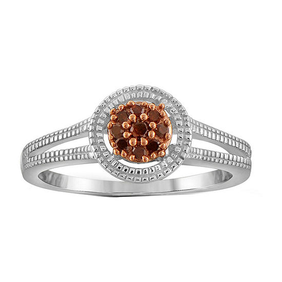 1/10 CT. T.W. Color-Enhanced Red Diamond Sterling Silver Ring