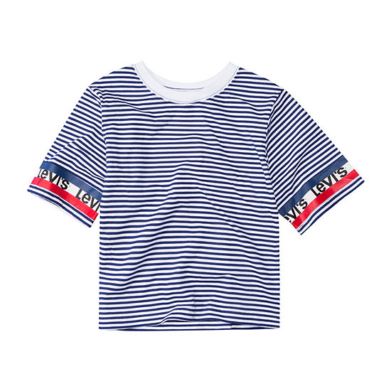 Levi's S/S Cropped Knit Top Girls Round Neck Short Sleeve T-Shirt-Big Kid