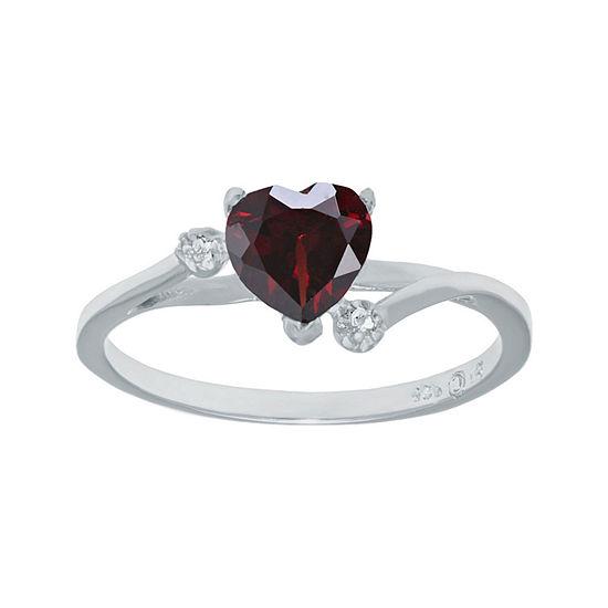 Genuine Garnet and White Topaz Sterling Silver Heart-Shaped Ring