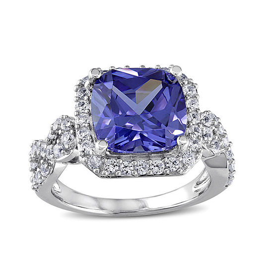 Cushion-Cut Lab Created Tanzanite and White Sapphire Ring
