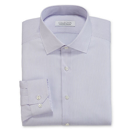 Collection by Michael Strahan Men's Spread Collar Long Sleeve Wrinkle Free Stretch Big And Tall Dress Shirt, 16 36-37, White