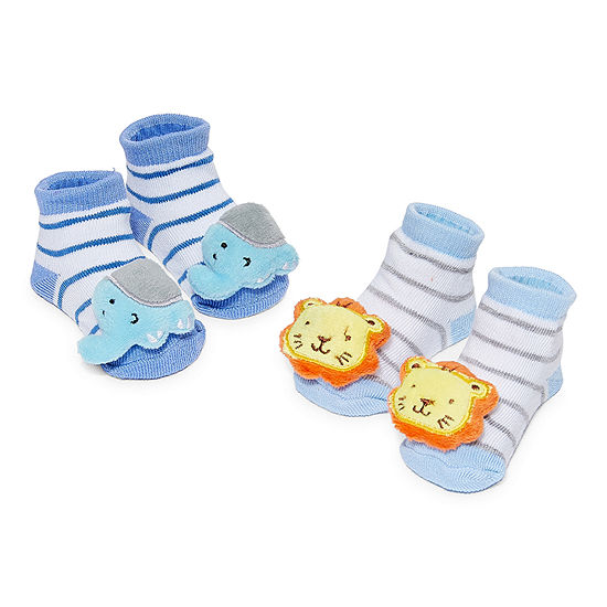 Piper & Jax Rattle 0-12 Months 2 Pair Baby Booties Boys-Baby