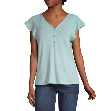 a.n.a-Womens V Neck Short Sleeve T-Shirt, X-small , Blue