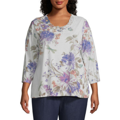 Alfred Dunner Floral Dragonfly Top - Plus