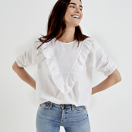Cottagecore Clothing, Soft Aesthetic a.n.a Womens Crew Neck Elbow Sleeve Blouse Small  White $18.74 AT vintagedancer.com