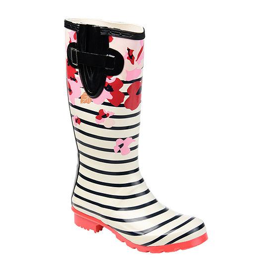 Journee Collection Womens Mist Rain Boots Water Resistant Block Heel