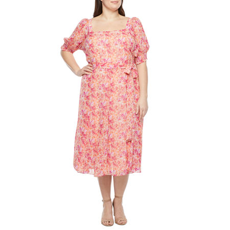 1980s Clothing, Fashion | 80s Style Clothes Danny  Nicole-Plus Short Sleeve Floral Midi Fit  Flare Dress 22w  Pink $33.74 AT vintagedancer.com