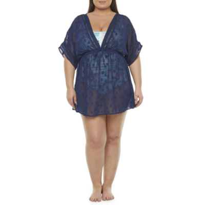 Peyton & Parker Womens Star Dress Swimsuit Cover-Up Plus
