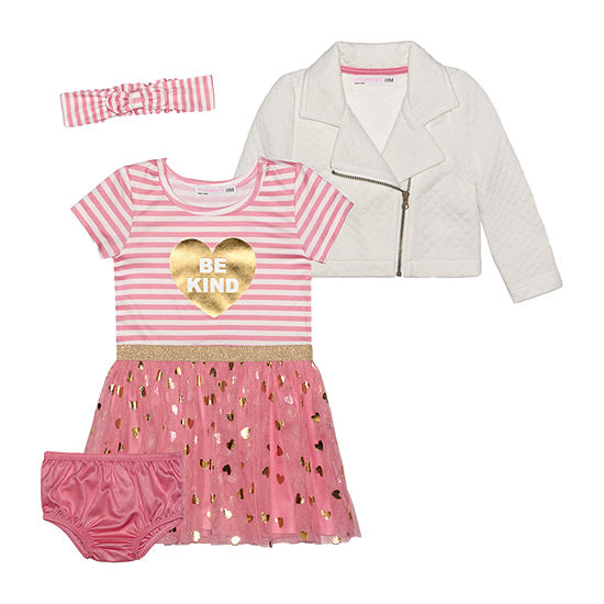 Young Hearts Baby Girls Short Sleeve 2-pc. Dress Set