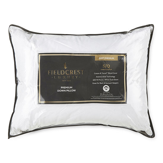 Fieldcrest Luxury Jacquard Medium Density Antimicrobial Down Pillow