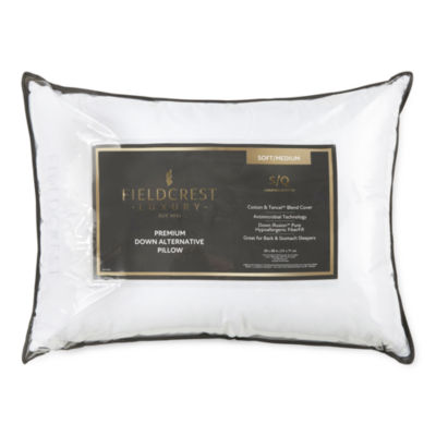 Fieldcrest Luxury Sateen Medium Density Antimicrobial  Down Alternative Pillow