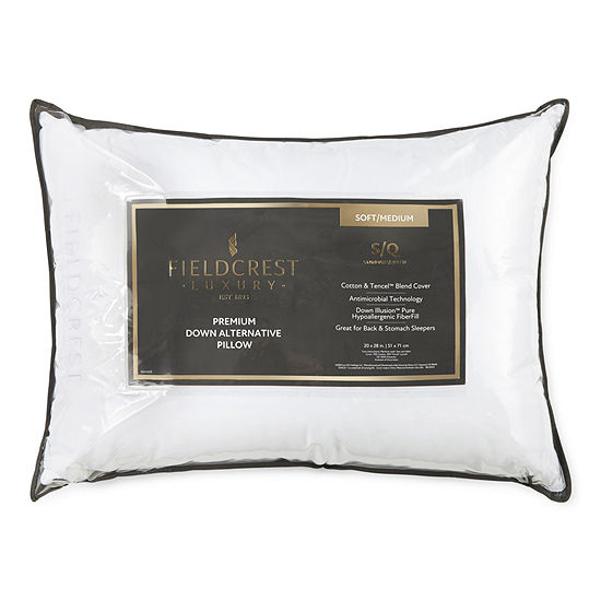 Fieldcrest Luxury Sateen Medium Density Antimicrobial  Down Alternative Pillow