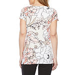 Liz Claiborne Womens Round Neck Short Sleeve Tunic Top