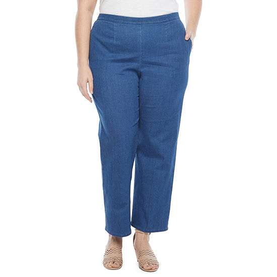 Alfred Dunner Lazy Daisy Womens Straight Pull-On Pants