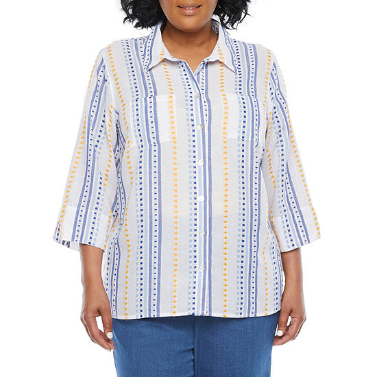 Alfred Dunner-Plus Lazy Daisy Womens 3/4 Sleeve Dobby Blouse