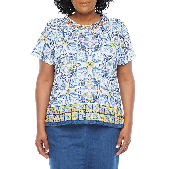 Alfred Dunner Plus Lazy Daisy Womens Crew Neck Short Sleeve T-Shirt