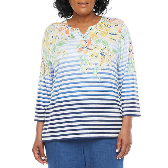 Alfred Dunner Plus Lazy Daisy Womens Split Crew Neck 3/4 Sleeve T-Shirt