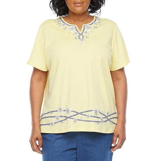 Alfred Dunner Plus Lazy Daisy Womens Split Crew Neck Short Sleeve T-Shirt