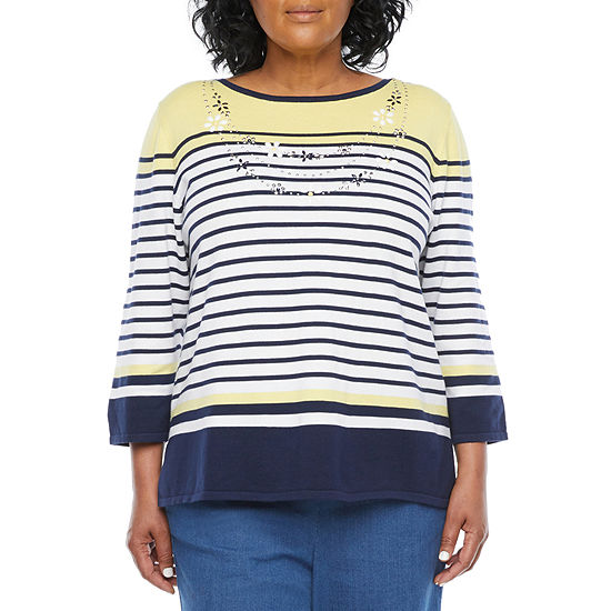 Alfred Dunner-Plus Lazy Daisy Womens Boat Neck 3/4 Sleeve Striped Pullover Sweater
