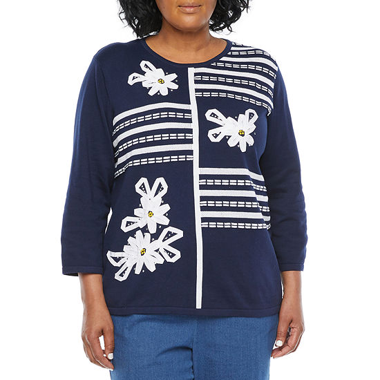 Alfred Dunner-Plus Lazy Daisy Womens Crew Neck 3/4 Sleeve Floral Pullover Sweater