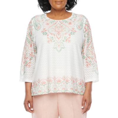 Alfred Dunner Plus Springtime In Paris Womens Crew Neck 3/4 Sleeve T-Shirt