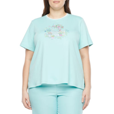 Alfred Dunner Classics French Terry Womens Plus Crew Neck Short Sleeve T-Shirt