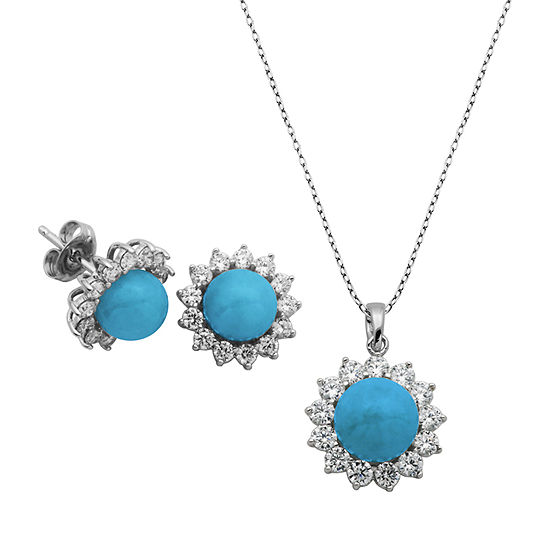 Enhanced Blue Turquoise Sterling Silver Jewelry Set