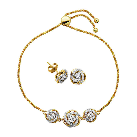 DiamonArt® White Cubic Zirconia 18K Gold Over Silver 2-pc. Jewelry Set